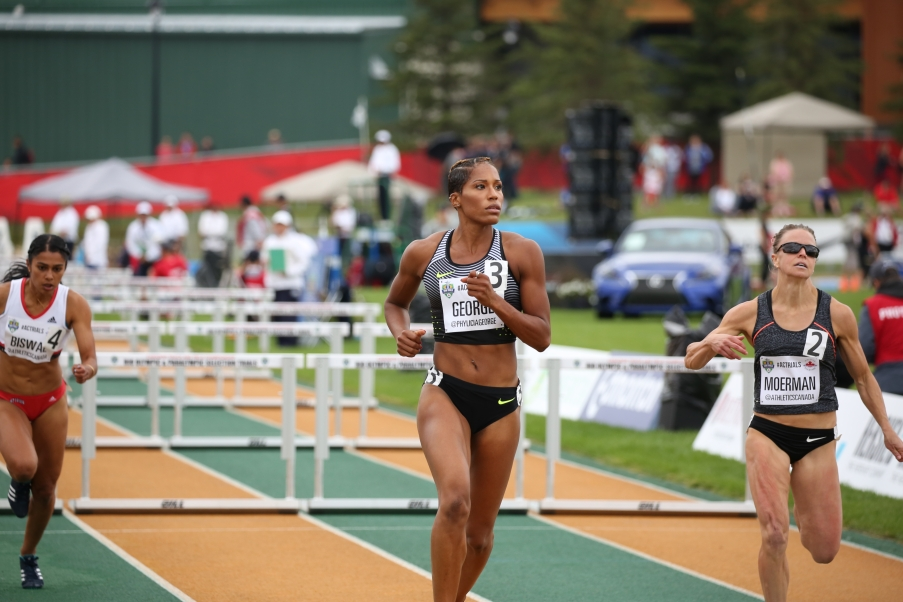 Phylicia George is headed to Rio for 100m hurdles after qualifying at the Canadian Track and Field Championships and Selection Trials for the 2016 Summer Olympic and Paralympic Games, in Edmonton, Alta. George will also be competing in the 4x100m relay (Steve Boudraeu/COC)