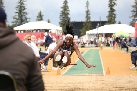 Christabel Nettey competing in long jump at the Canadian Track and Field Championships and Selection Trials for the 2016 Summer Olympic and Paralympic Games, in Edmonton, Alta. (Steve Boudraeu/COC)