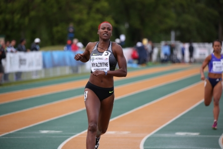 Kim Hyacinthe competing in track and field