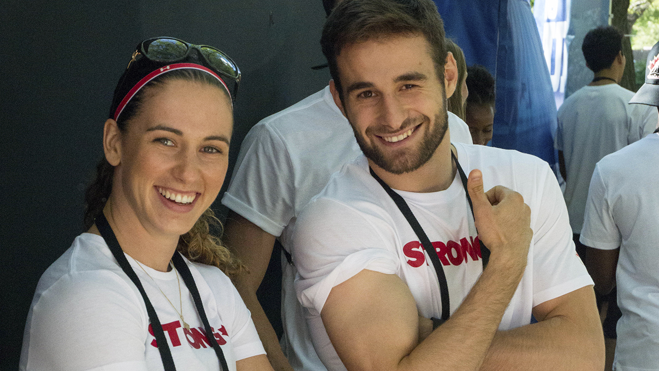 Mandy Bujold and Arthur Biyarslanov at the Team Canada beach party on July 1, 2016.