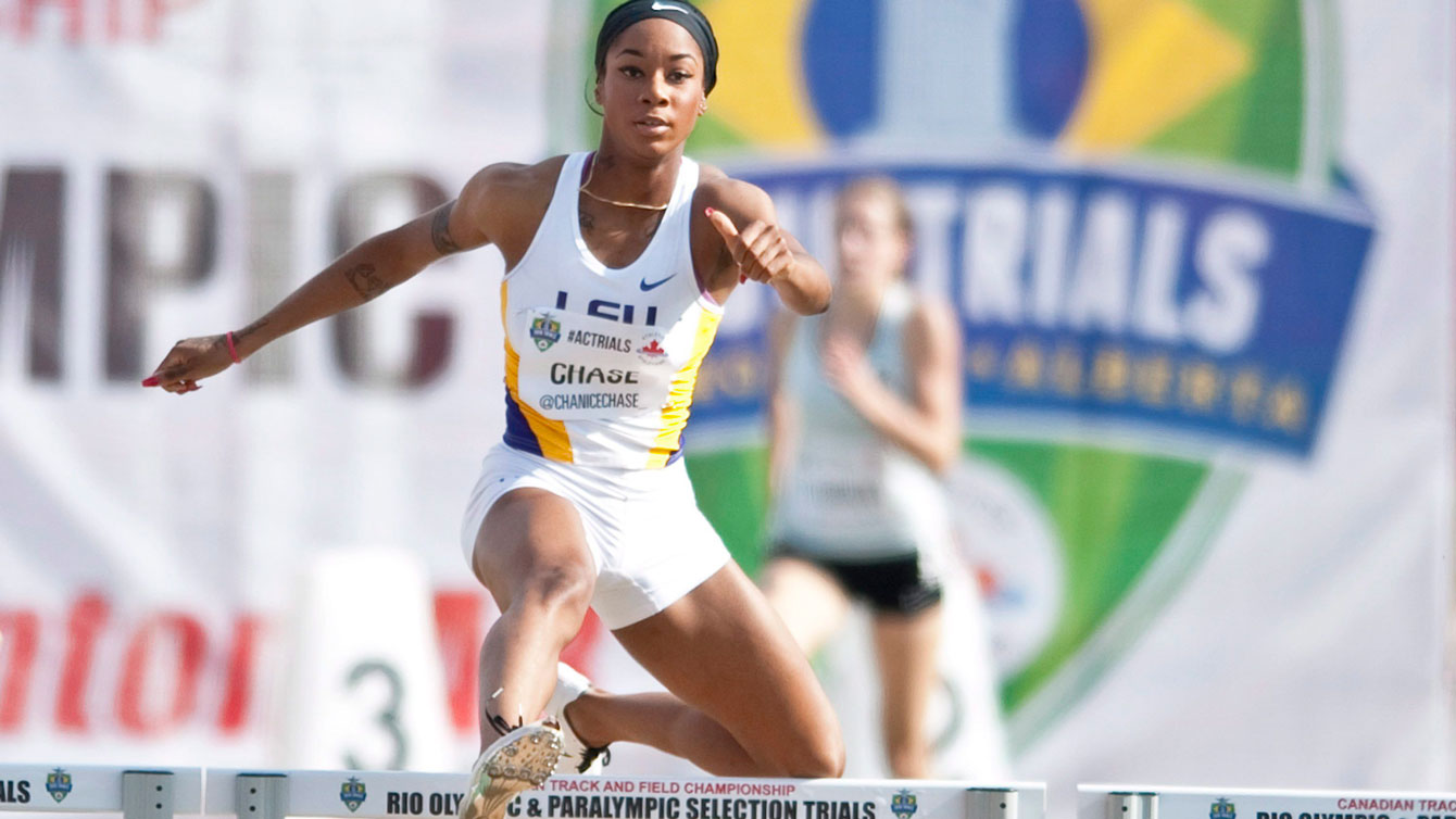 Chanice Chase hurdles her way to victory during the senior men's 400 metre hurdles semi-finals at the Canadian Track and Field Championships and Selection Trials for the 2016 Summer Olympic and Paralympic Games, in Edmonton, Alta., on Thursday, July 7, 2016.