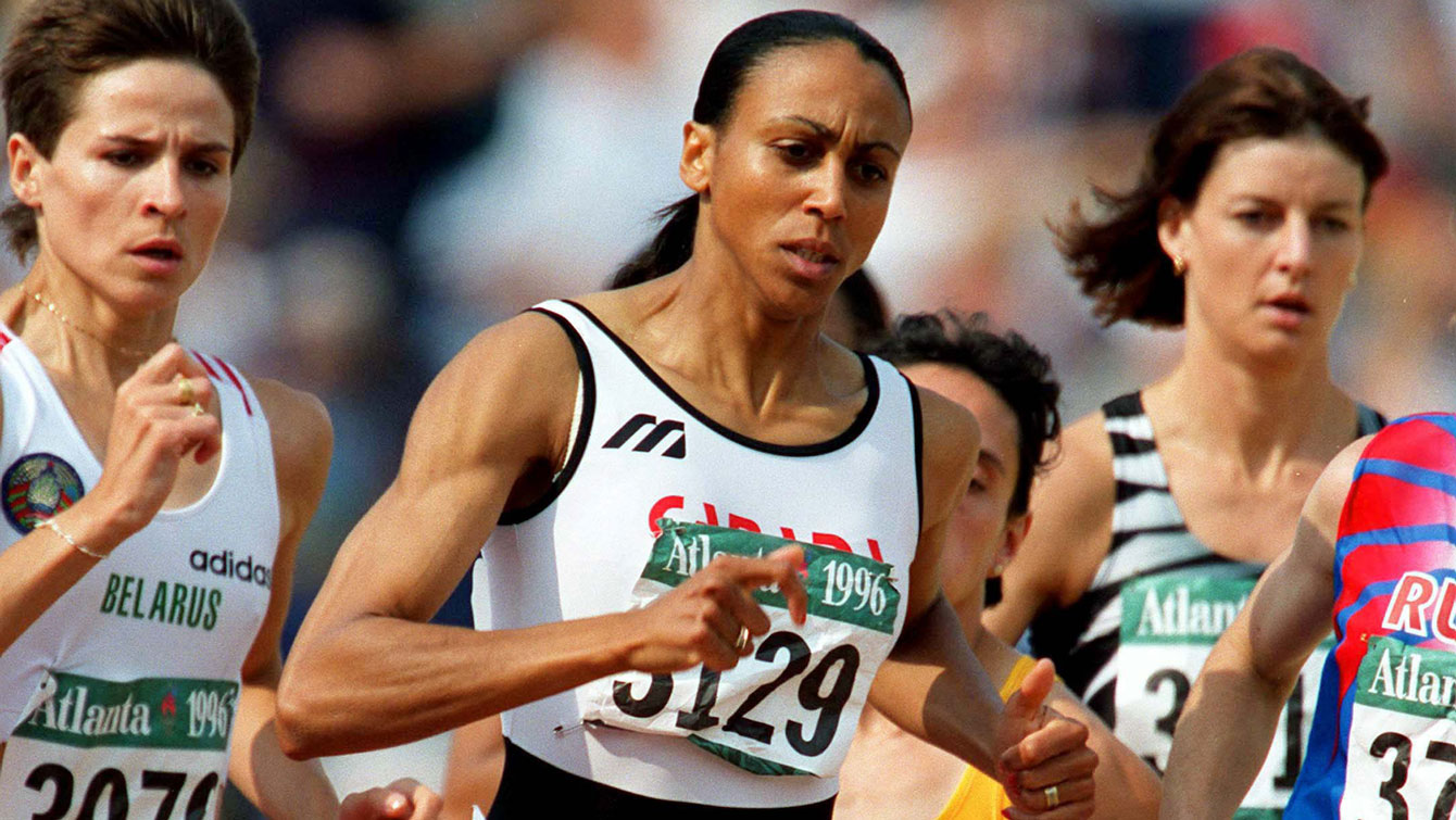 Canada's Charmaine Crooks competes in the 800m run at the 1996 Atlanta Summer Olympic Games.