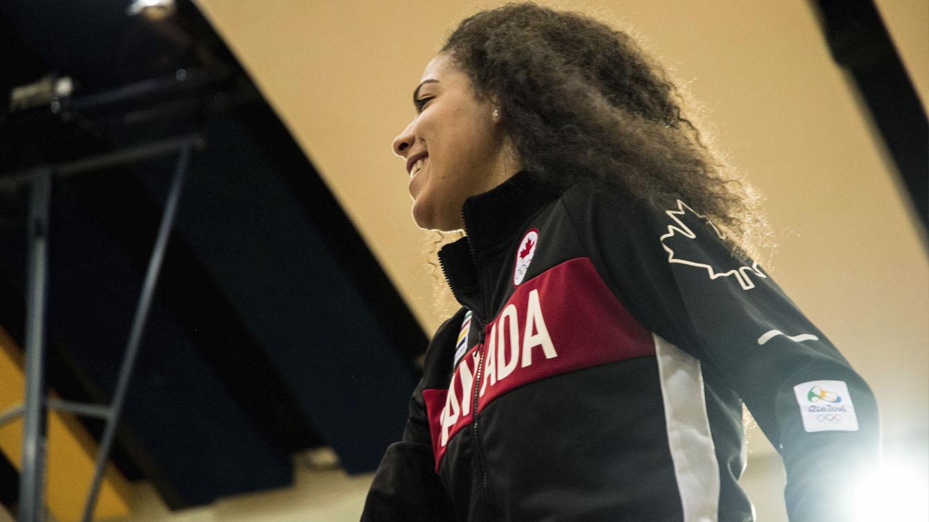 Kia Nurse at the Canadian Olympic women's basketball team announcement on July 22, 2016 in Toronto. (Tavia Bakowski/COC)