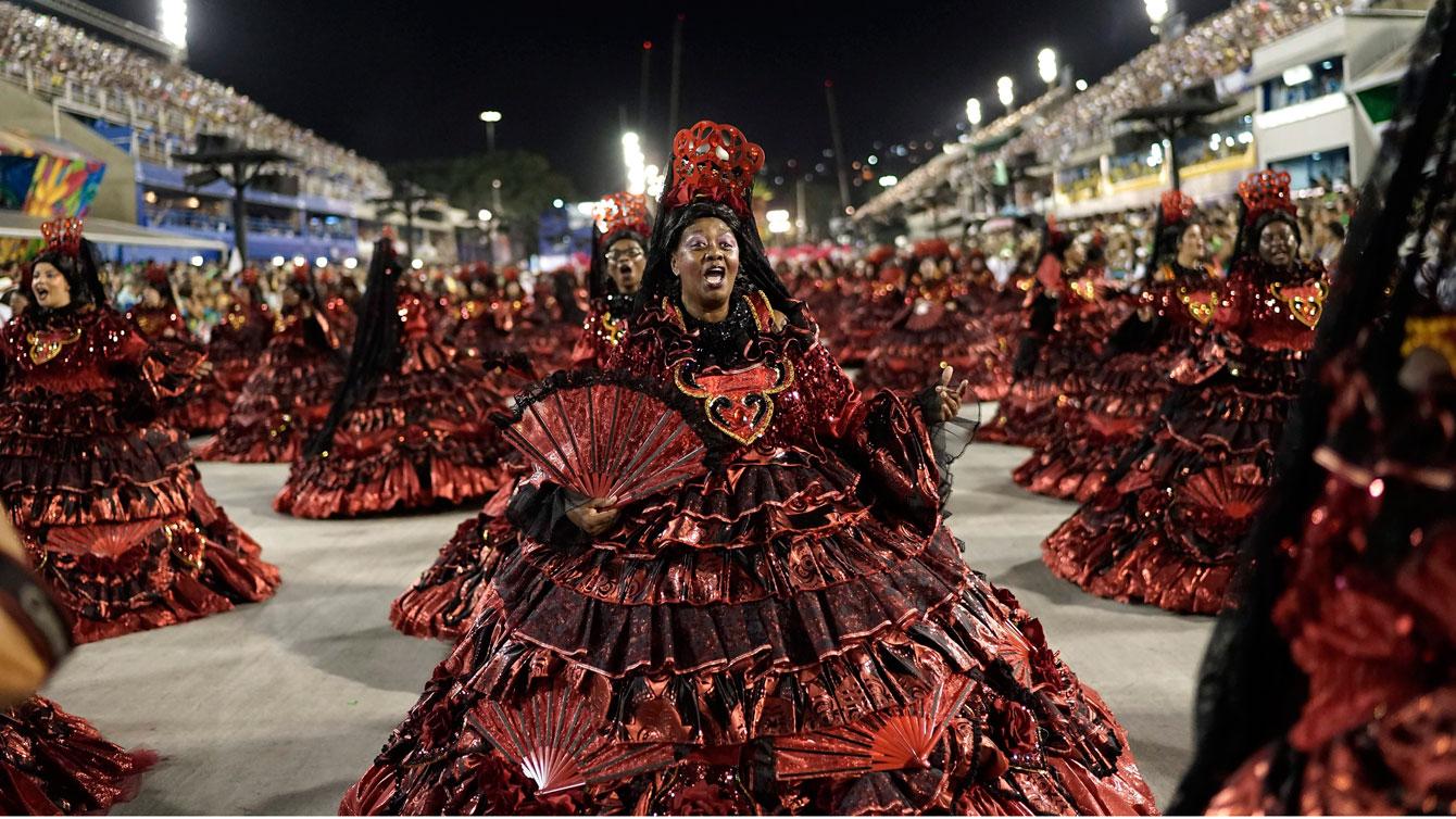 Salgueiro samba school parade during Carnival celebrations at the Sambadrome in Rio de Janeiro, Brazil, 2016. (AP Photo/Leo Correa)