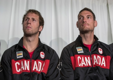 Sam Schachter (left) and Josh Binstock at the Rio 2016 beach volleyball nomination announcement on July 20, 2016.