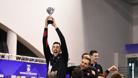 Canada's Stephen Timothy Maar celebrating with the FIVB World League Group 2 trophy on July 10, 2016. (Photo: FIVB)