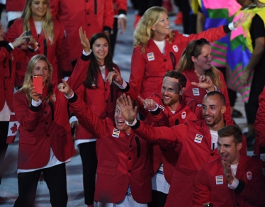 Canadian athletes take part in the opening ceremonies at the 2016 Olympic Games in Rio de Janeiro, Brazil on Friday, Aug. 5, 2016. THE CANADIAN PRESS/Sean Kilpatrick