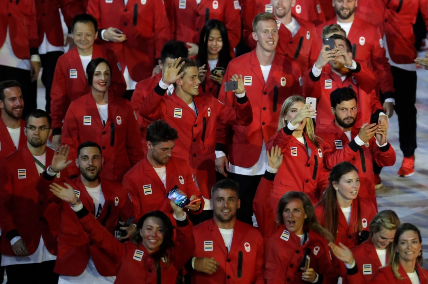 Team Canada marches in the arena during the opening ceremony for the 2016 Summer Olympics in Rio de Janeiro, Brazil, Friday, Aug. 5, 2016. (AP Photo/Patrick Semansky)
