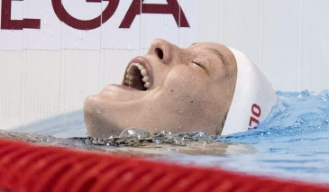 Canada's Penny Oleksiak reacts to her silver medal performance in the women's 100-metre butterfly at the 2016 Summer Olympics on Sunday, August 7, 2016 in Rio de Janeiro, Brazil. THE CANADIAN PRESS/Frank Gunn