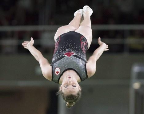 Rosie MacLennan competing in trampoline