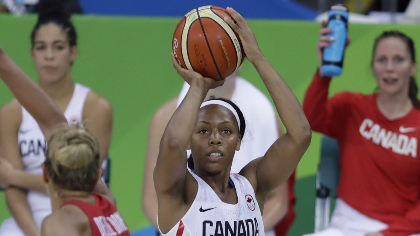 Canada guard Nirra Fields shoots during the second half of a women's basketball game against the United States at the Youth Center at the 2016 Summer Olympics in Rio de Janeiro, Brazil, Friday, Aug. 12, 2016. The United States defeated Canada 81-51. (AP Photo/Carlos Osorio)