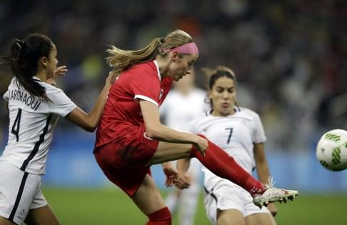 Janine Beckie controls the ball during a quarter-final match