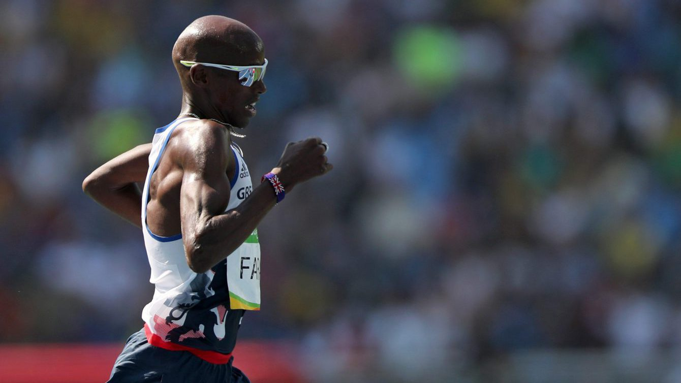 Britain's Mo Farah competes in a men's 5000-meter heat during the athletics competitions of the 2016 Summer Olympics at the Olympic stadium in Rio de Janeiro, Brazil, Wednesday, Aug. 17, 2016. (AP Photo/Lee Jin-man)