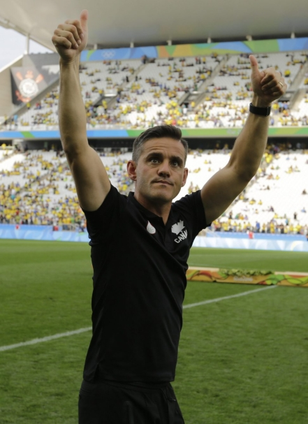 Canada coach John Herdman celebrates after winning the bronze medal in the women's Olympic football tournament at the Arena Corinthians stadium in Sao Paulo, Friday Aug. 19, 2016. (AP Photo/Nelson Antoine)