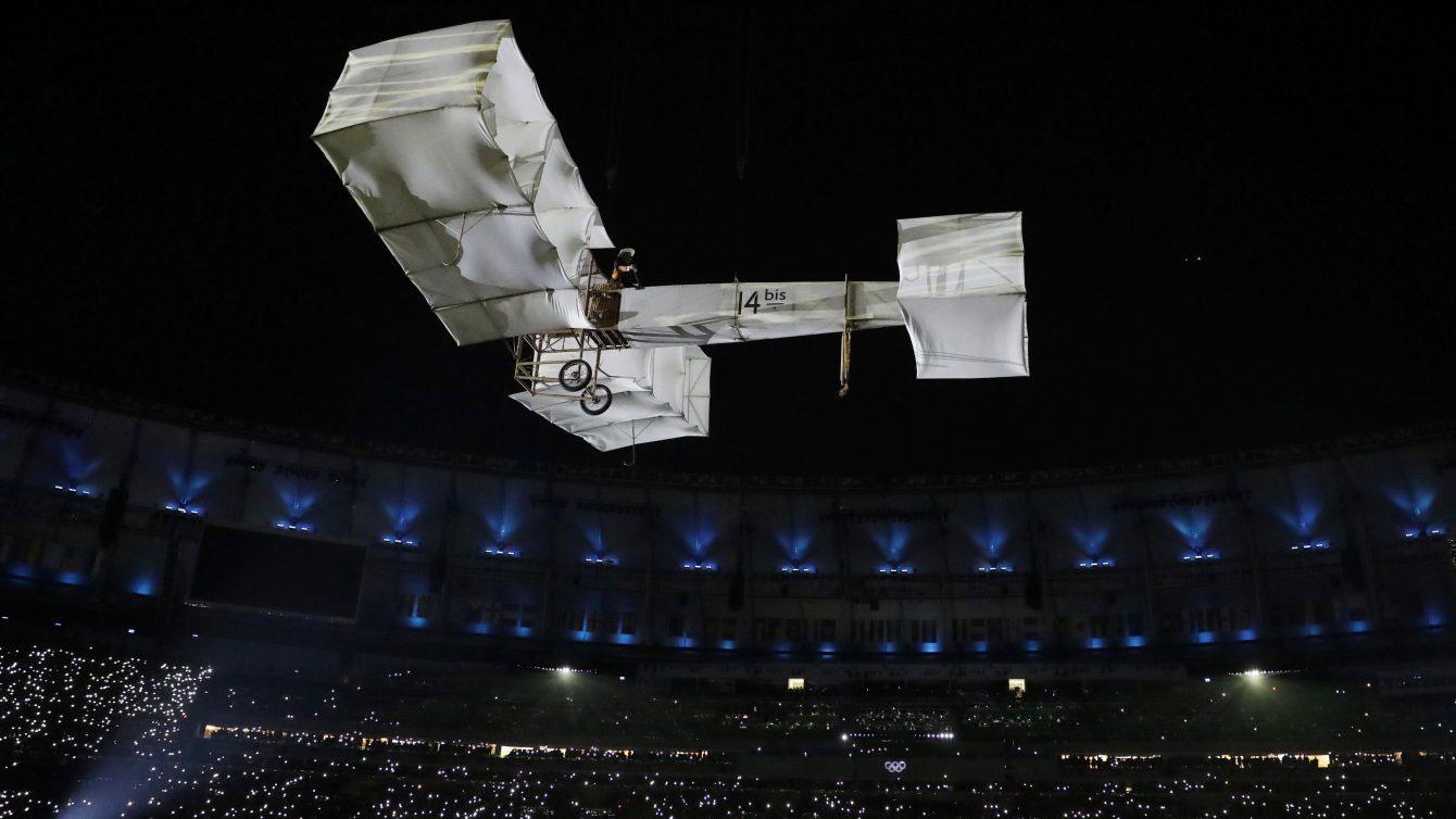 14 Bis flights over Maracana Stadium, Rio 2016 Opening Ceremony (AP Photo/Matt Dunham)