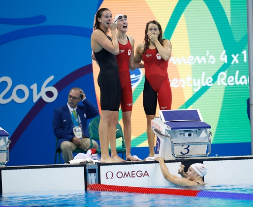 Women's 4X100m Freestyle Relay Team, Rio 2016, August 6, 2016. COC Photo/Mark Blinch