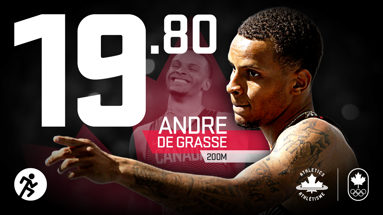 Andre De Grasse ran the Olympic 200m semifinal at Rio 2016 in 19.80 seconds to break the Canadian record on August 17, 2016.