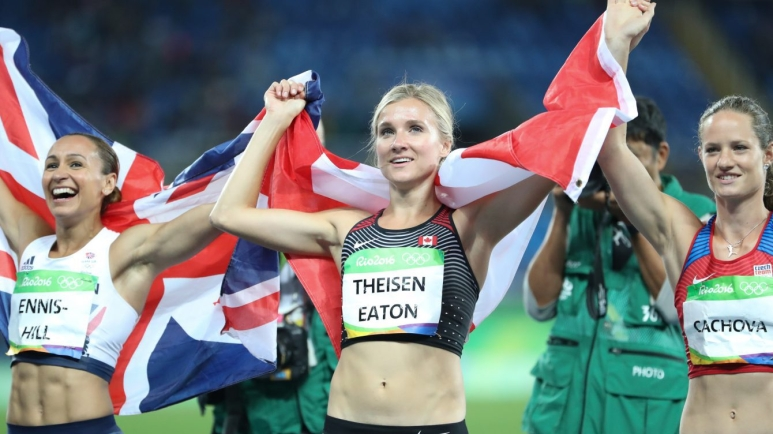 Brianne Theisen-Eaton poses with the other medallists