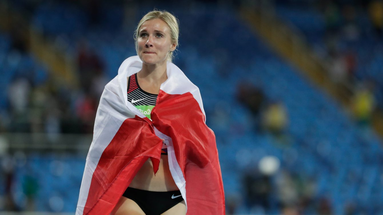Canada's Brianne Theisen-Eaton, centre, following her bronze medal finish in the women's heptathlon at the 2016 Olympic Games in Rio de Janeiro, Brazil on Saturday, Aug. 13, 2016. photo/ David Jackson