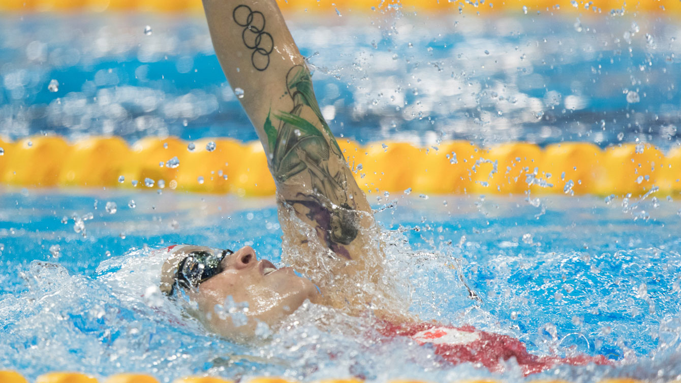 Hilary Caldwell swims the semifinal in Olympic 200m backstroke on August 12, 2016.