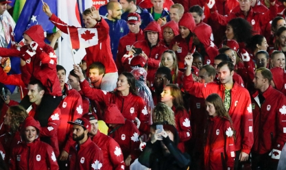 Team Canada marches in to the closing ceremonies at Rio 2016. (COC/Jason Ransom)