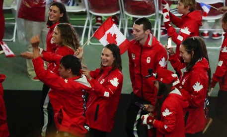 Team Canada walks in to the Rio 2016 closing ceremony on August 21, 2016. (COC/Jason Ransom)
