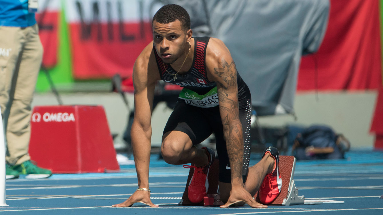 Andre De Grasse in his block for the Olympic 200m heats on August 16, 2016.