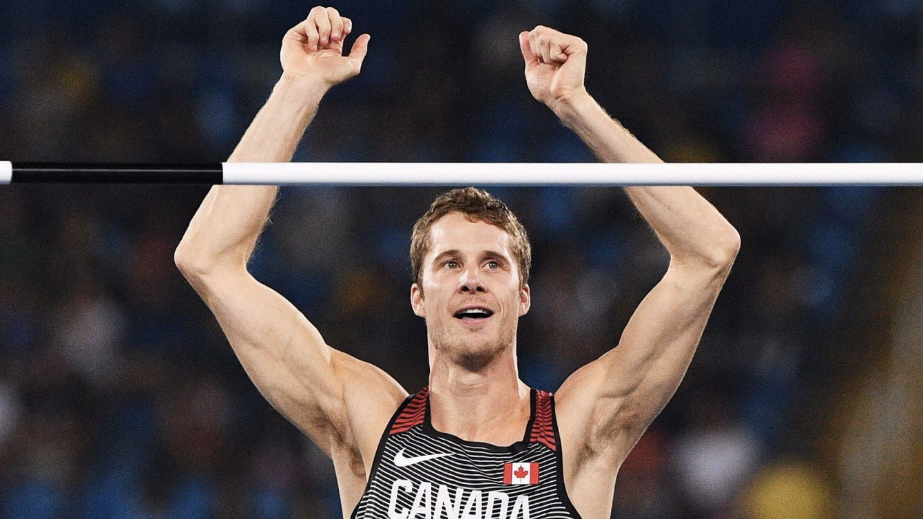 Rio 2016: Derek Drouin celebrates a clearance before winning high jump gold at the Olympic Games in Rio de Janeiro on August 16, 2016.
