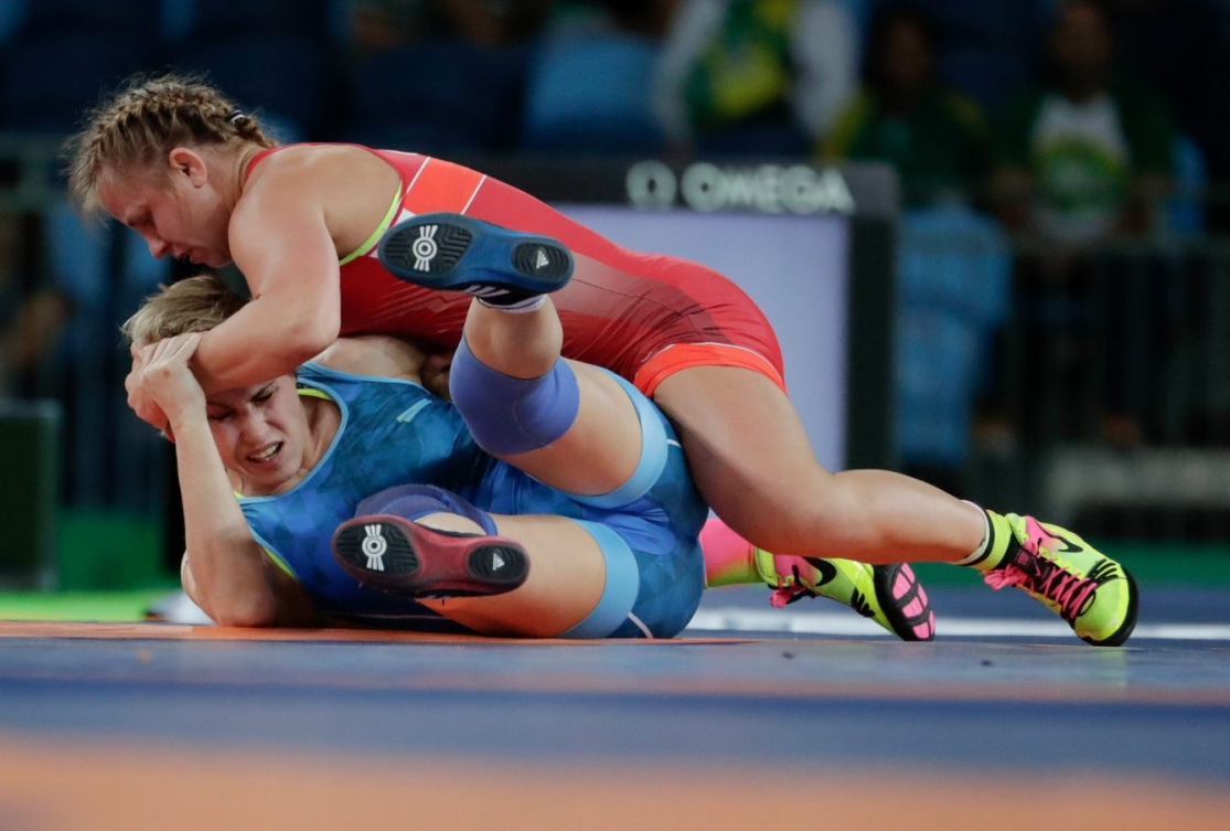 Erica Wiebe fights against an opponent