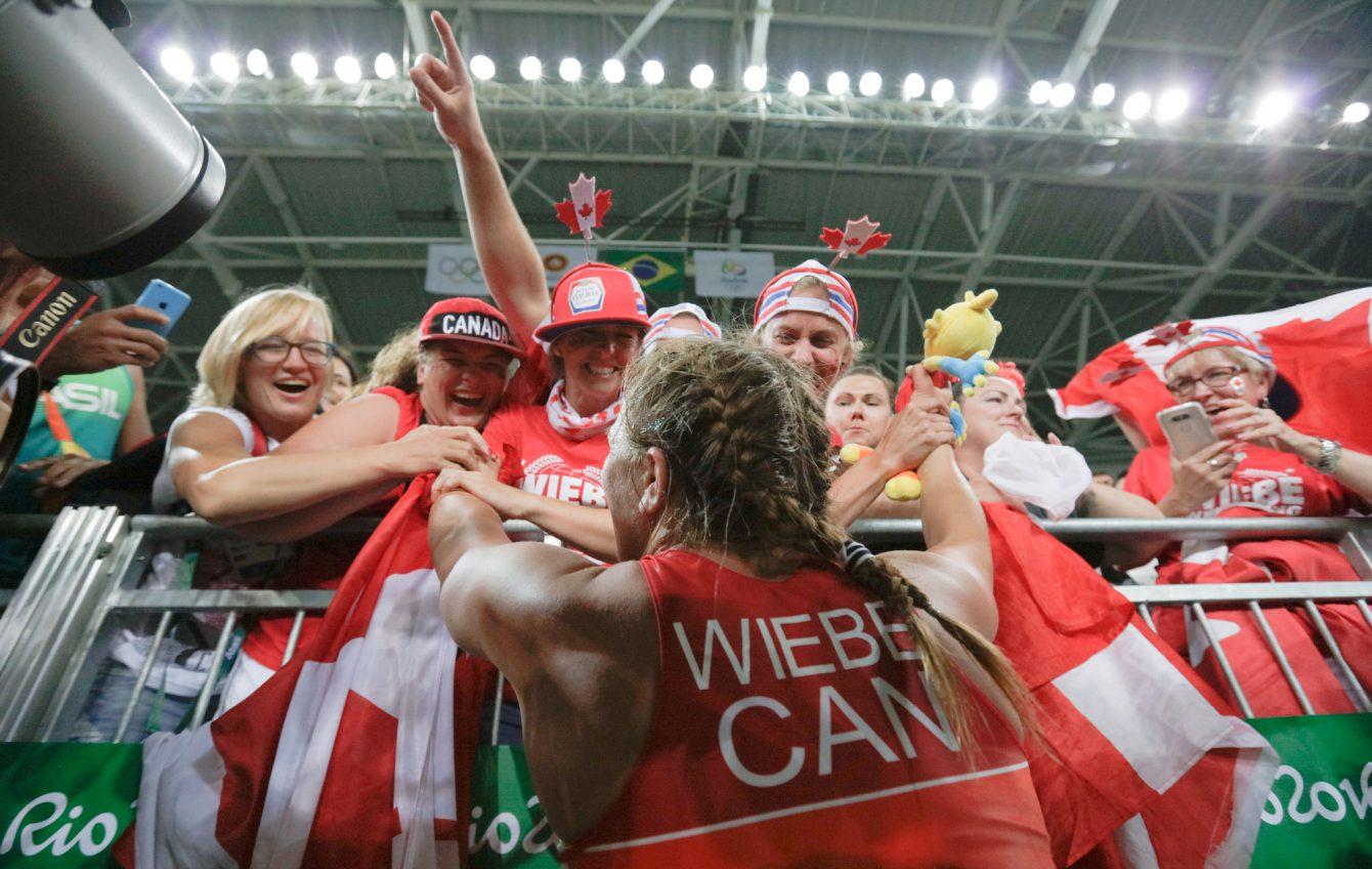 Team Canada's Erica Wiebe celebrates her gold medal in 75kg women's wrestling at Carioca Stadium, Rio de Janeiro, Brazil, Thursday August 18, 2016. (COC/David Jackson)
