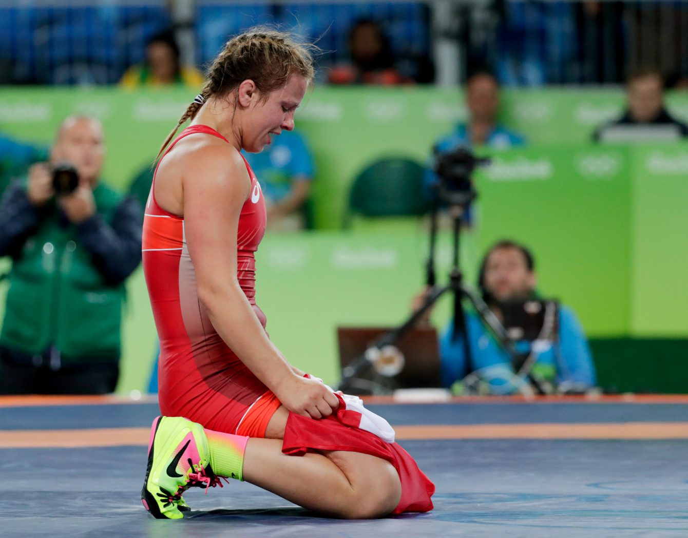 Canada's Erica Wiebe, after defeating Kazakhstan's Guzel Manyurova during the women's 75kg freestyle wrestling competition at the 2016 Summer Olympics in Rio de Janeiro, Brazil, Thursday, Aug. 18, 2016. (COC/ David Jackson)
