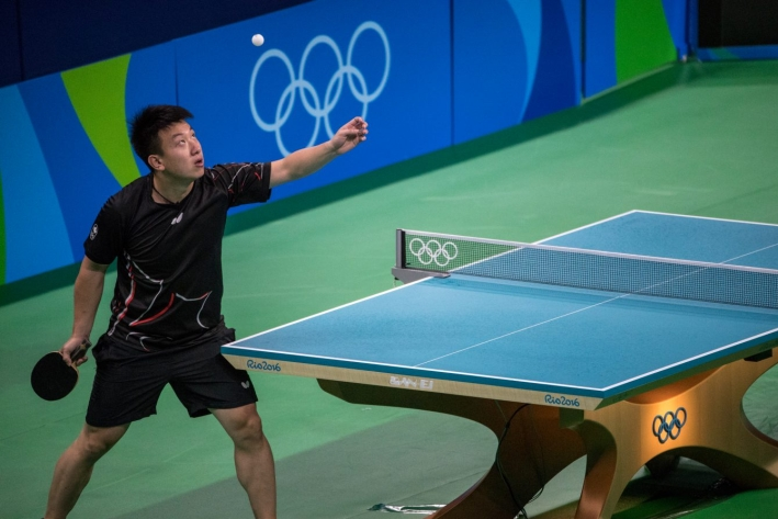 Team Canada's Eugene Wang competes in the men's single's qualifying round of table tennis in Rio Centro Park, Rio de Janeiro, Brazil, Saturday August 6, 2016. COC Photo/David Jackson