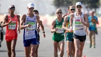 Team Canada's Mathieu Bilodeau and Evan Dunfee compete in the men's 50km race walk at Pontal Beach, Rio de Janeiro, Brazil, Thursday August 18, 2016. COC Photo/David Jackson