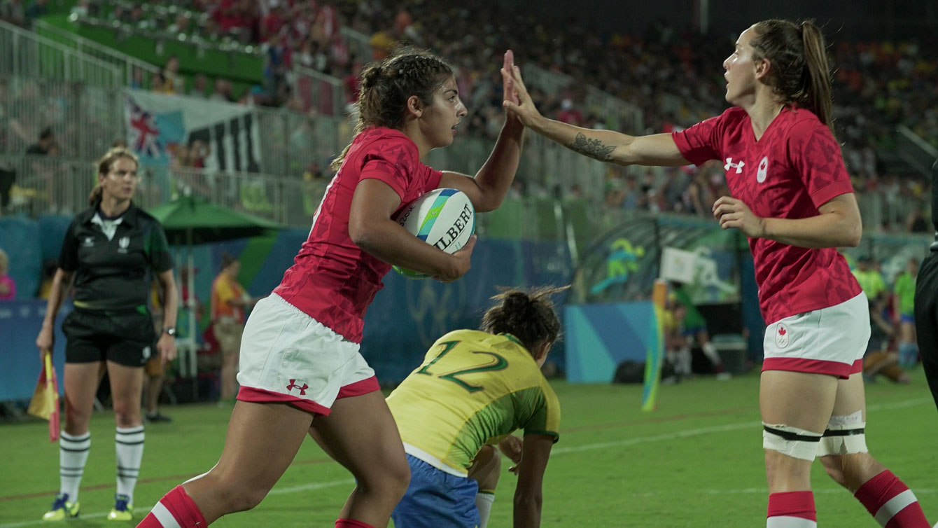 Bianca Farella (left) after her try against Brazil on August 6, 2016.