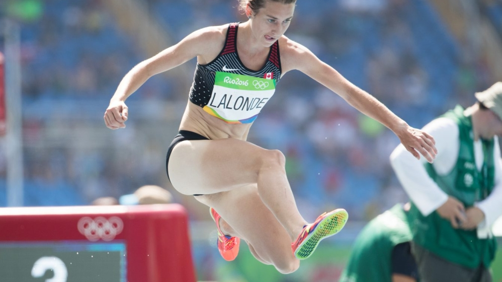 Genevieve Lalonde competes in the 3000m steeplechase finals