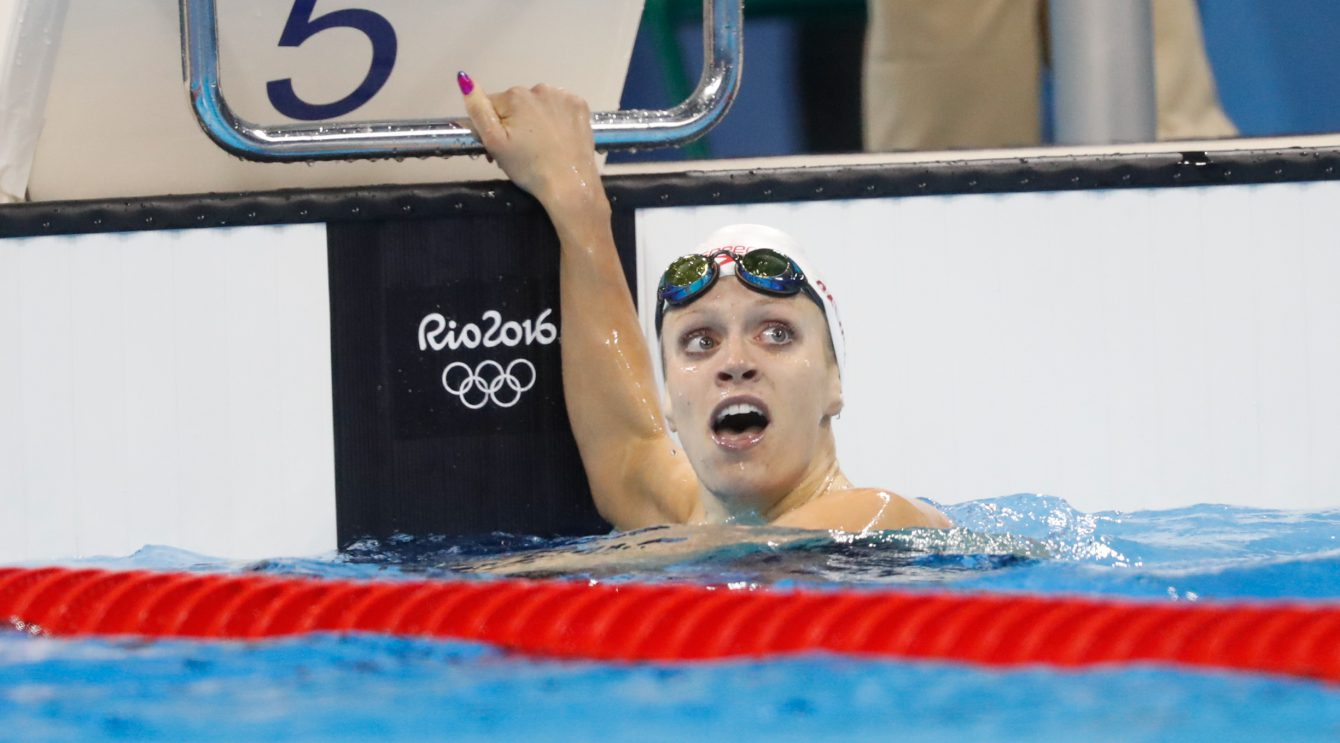 Canada's Hilary Caldwell reacting to winning the bronze medal in the women's 200-meter backstroke final during the swimming competitions at the 2016 Summer Olympics, Thursday, Aug. 11, 2016, in Rio de Janeiro, Brazil. (Photo/Mark Blinch)