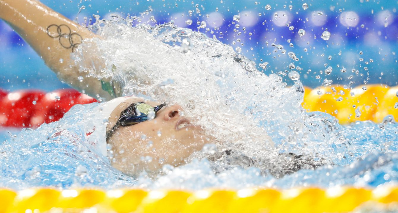 Canada's Hilary Caldwell competes in the women's 200-meter backstroke final during the swimming competitions at the 2016 Summer Olympics, Thursday, Aug. 11, 2016, in Rio de Janeiro, Brazil.