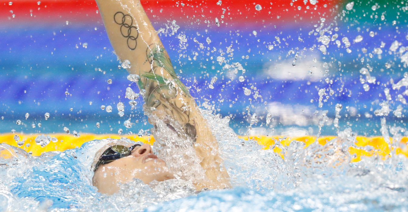 Canada's Hilary Caldwell competes in the women's 200-meter backstroke final during the swimming competitions at the 2016 Summer Olympics, Thursday, Aug. 11, 2016, in Rio de Janeiro, Brazil. (COC/Mark Blinch)