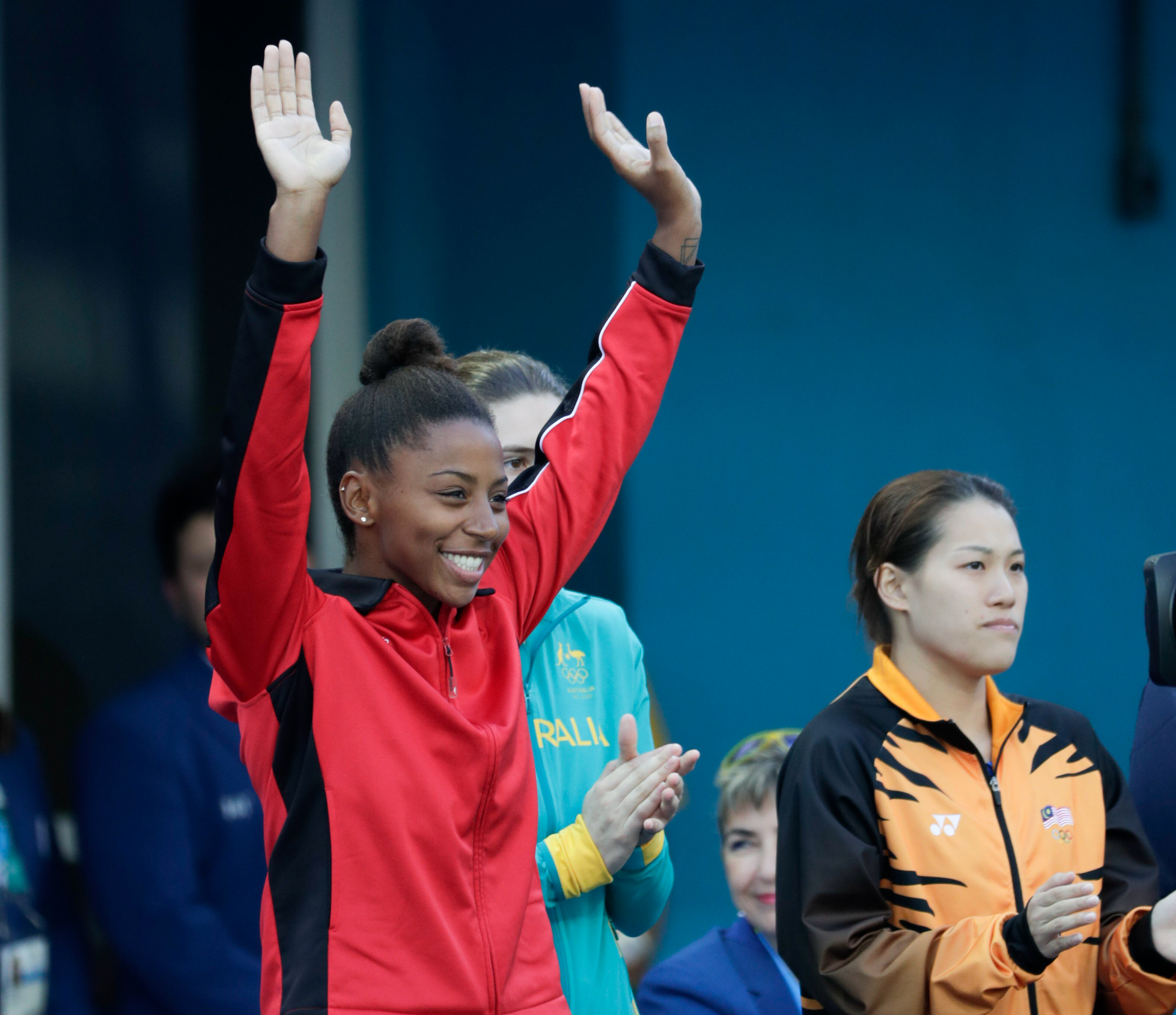 Jennifer Abel is introduced prior to the 3m springboard final at Rio 2016 on August 14, 2016 (Jason Ransom/COC)