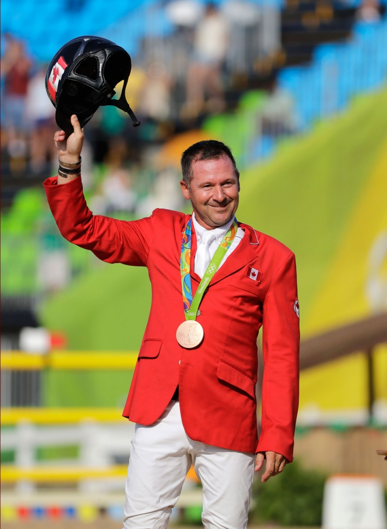 Eric Lamaze after accepting his Olympic bronze medal in Rio de Janeiro on August 19, 2016.
