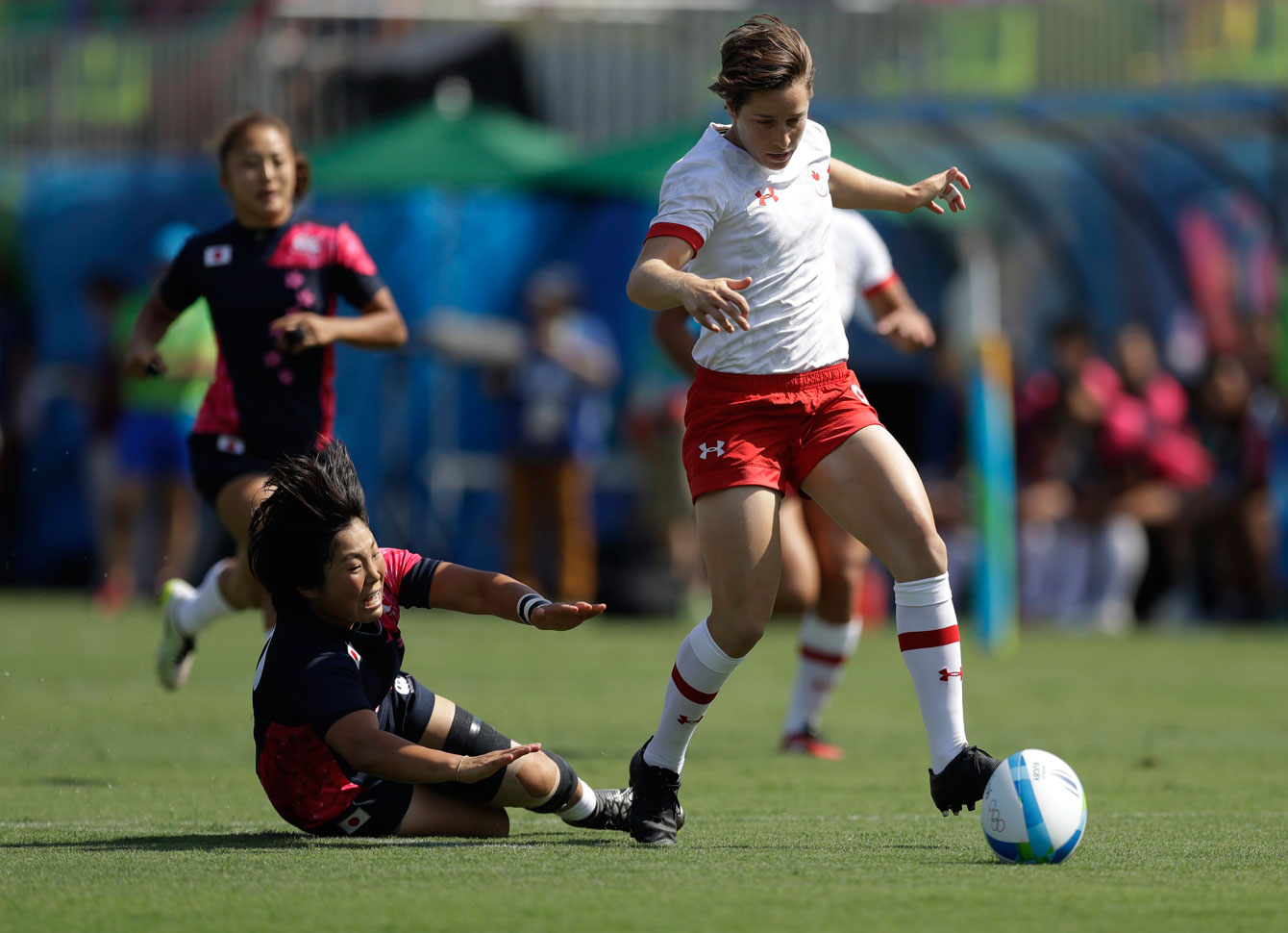 Canada's Ghislaine Landry at Canada's opening women's sevens match at Rio 2016 on Aug. 6, 2016. (AP Photo/Themba Hadebe)