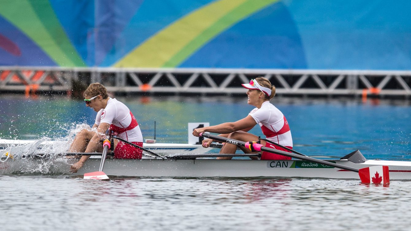 Team Canada's Patricia Obee and Lindsay Jennerich win silver during the women's double sculls final at Lagoa Rowing Stadium, Rio de Janeiro, Brazil, Friday August 12, 2016. COC Photo/David Jackson
