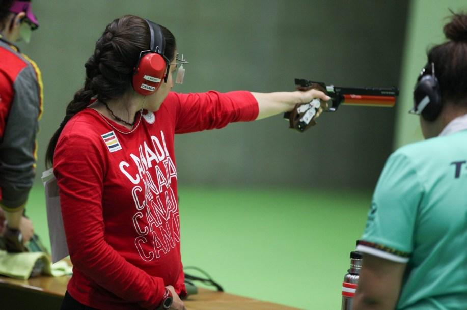 Lynda Kiejko prepares for a shot