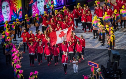 Team Canada arrives during the opening ceremony for the Olympic games at Maracana Stadium in Rio de Janeiro, Brazil, Friday August 5, 2016. COC Photo/Mark Blinch