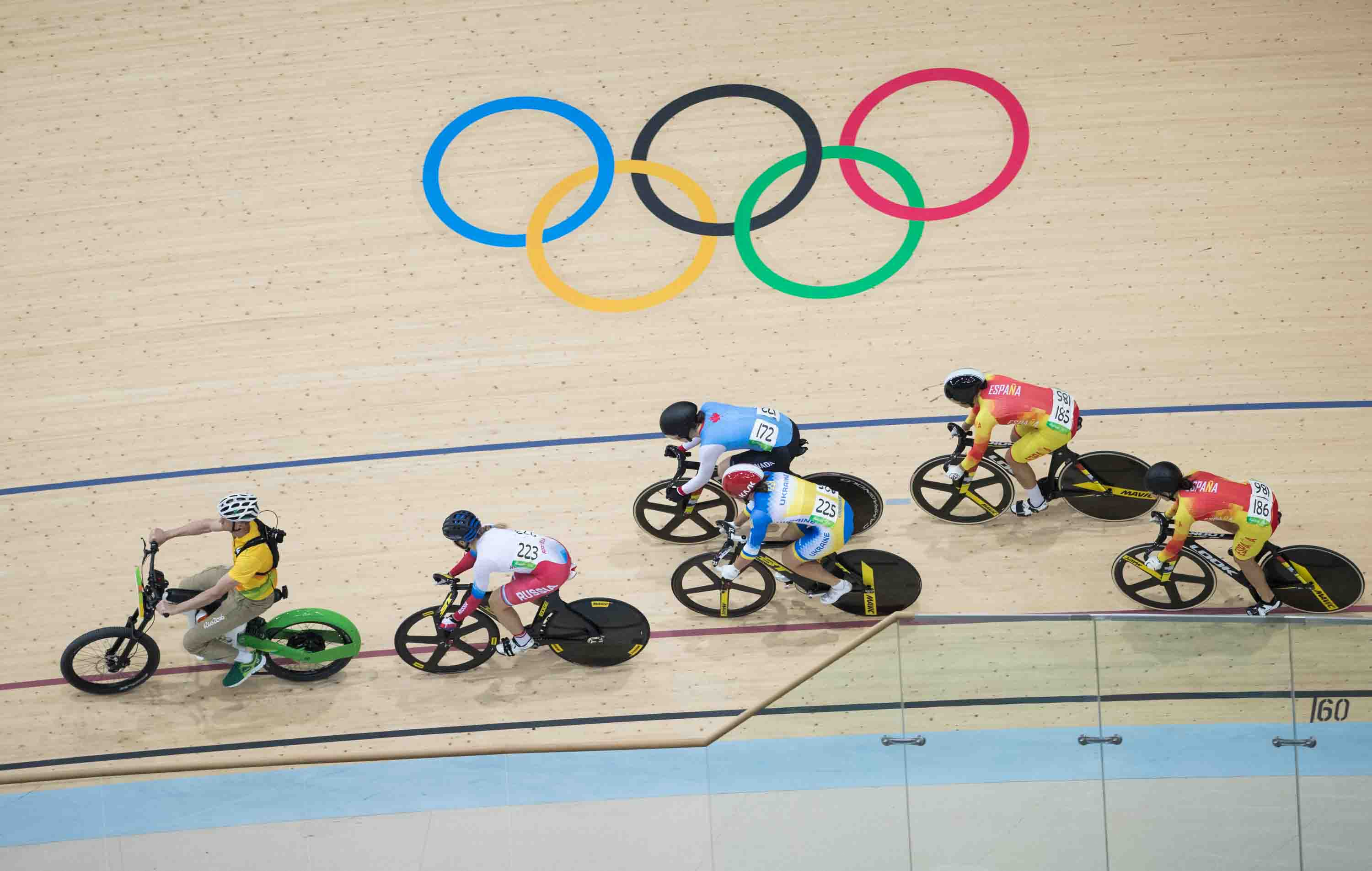 Canada's Monique Sullivan competes in the Women's Keirin during track cycling at the velodrome at the Olympic games in Rio de Janeiro, Brazil.