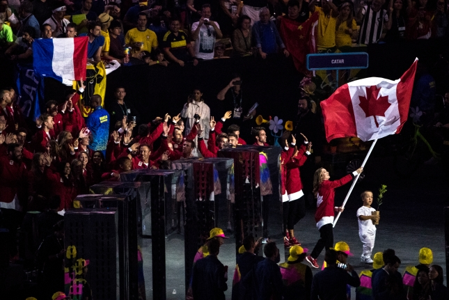 Team Canada enters the Maracana Stadium during the opening ceremonies of the olympic games in Rio de Janeiro, Brazil, Friday August 5, 2016. COC Photo/David Jackson