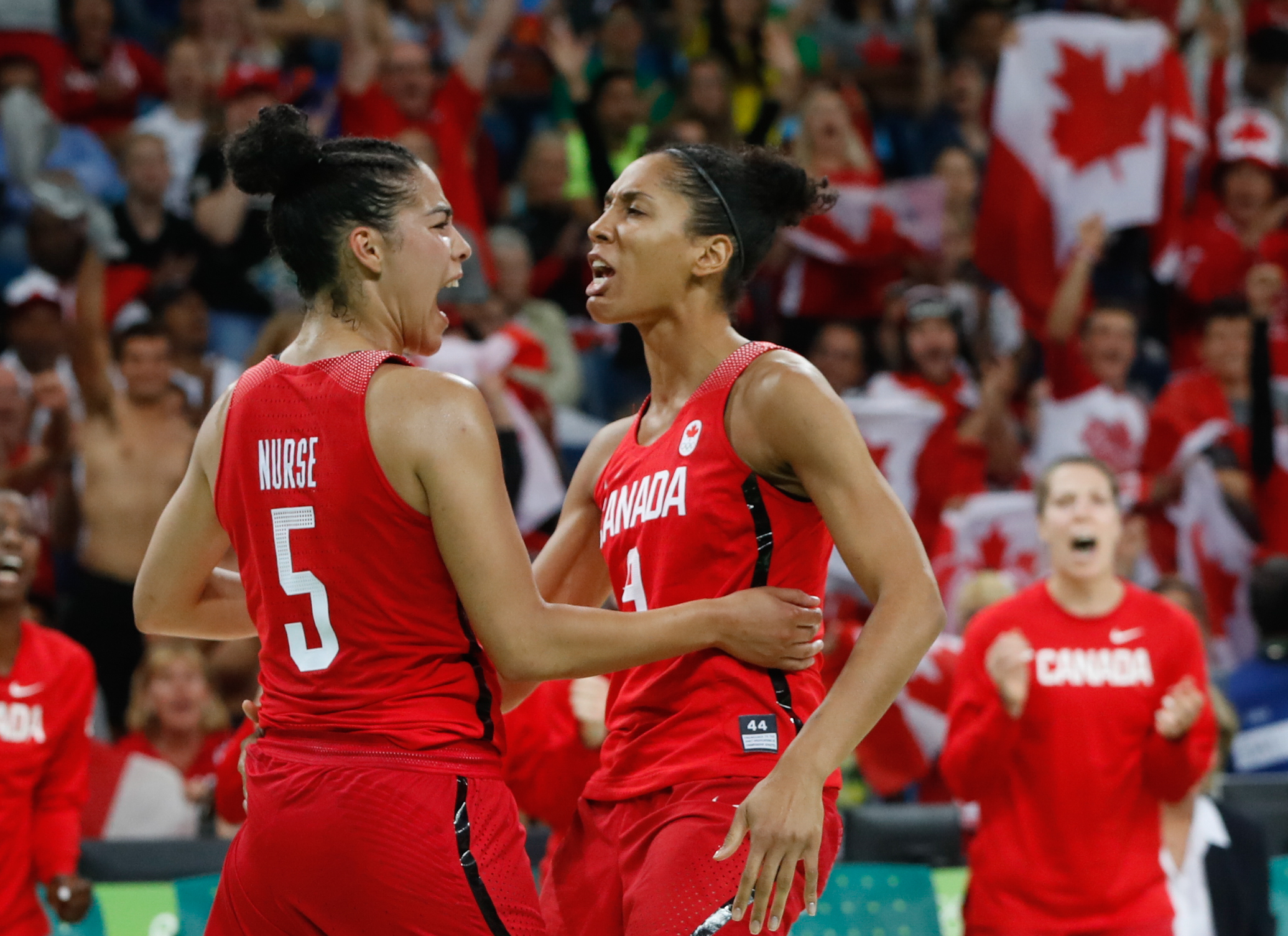 Kia Nurse and Miranda Ayim in the quarterfinal game at Rio 2016 against France (COC/March Blinch)