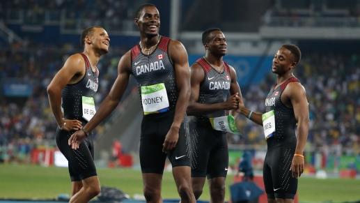 (L-R) Andre De Grasse, Brendon Rodney, Aaron Brown and Akeem Haynes after breaking the 20-year-old Canadian record in the 4x100m relay.