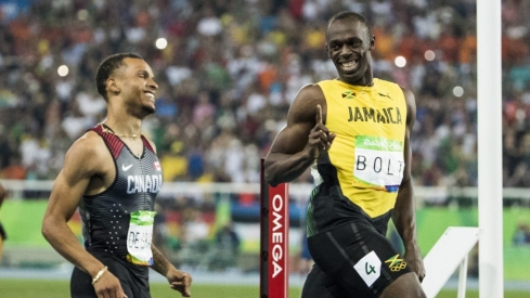 Andre De Grasse and Usain Bolt compete in the Men's 200m Semi Final at the Olympic Games in Rio de Janeiro, Brazil, Wednesday, August 17, 2016. COC Photo by Stephen Hosier