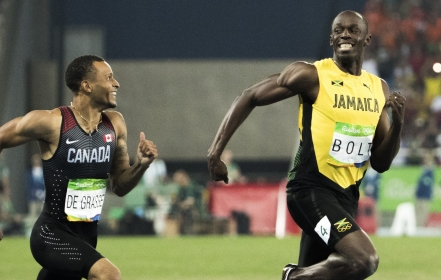 Andre De Grasse and Usain Bolt compete in the men's 200m semi final at the Olympic Games in Rio de Janeiro, Brazil, Wednesday, August 17, 2016. (COC Photo/Stephen Hosier)